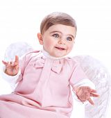 image of little angel  - Closeup portrait of cute baby angel isolated on white background - JPG