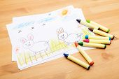image of ester  - Children drawing for ester holiday - JPG