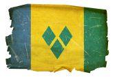 Постер, плакат: Сент Винсент и Гренадины флаг старый изолированные на белом фоне