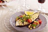 stock photo of chickpea  - Warm salad with baked eggplant, chickpeas, tomatoes and herbs