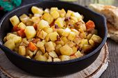 stock photo of hash  - Apple and root vegetable hash with potato - JPG
