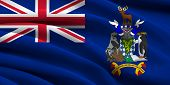 pic of south american flag  - Flag of South Georgia and the South Sandwich Islands waving in the wind - JPG