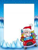 image of santa-claus  - Frame with Santa Claus driving car  - JPG