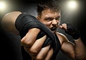picture of valiant  - horizontal photo muscular young guy street - JPG