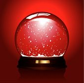 empty snowglobe over red