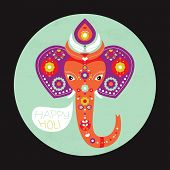 picture of indian elephant  - Happy Holi elephant spring celebration Indian holiday template postcard cover design in vector - JPG