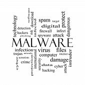 picture of malware  - Malware Word Cloud Concept in black and white with great terms such as trojan virus infection and more - JPG