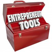 stock photo of entrepreneur  - Entrepreneur Tools Toolbox Skills Knowledge Tips Ideas - JPG