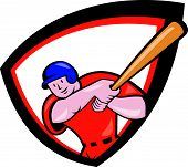 image of hitter  - Illustration of an american baseball player batter hitter batting with bat set inside shield crest done in cartoon style isolated on white background - JPG