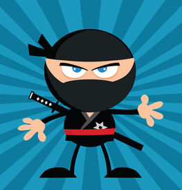 picture of chibi  - Angry Ninja Warrior Cartoon Character Flat Design Over Blue Background - JPG