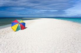 pic of camiguin  - Colorful sunshade on pure tropical white beach - JPG
