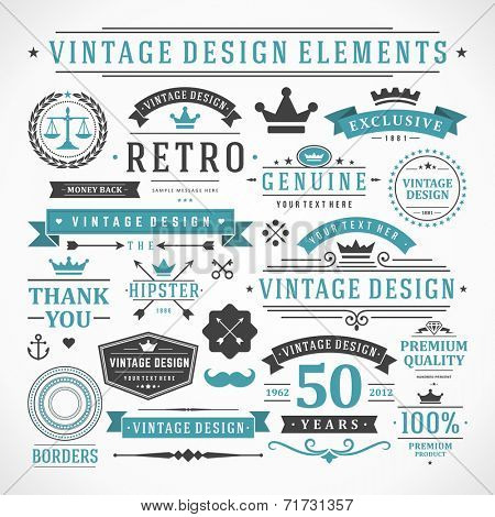 Vintage vector design elements. Retro style typographic, flourishes and calligraphic objects.Labels, poster