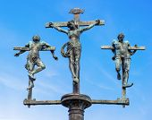 stock photo of inri  - crucifixion of Jesus Christ INRI sculpture on the bridge to the Insel Mainau Lake Constance Baden - JPG