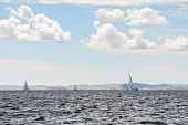 stock photo of windy weather  - boat is at adriatic in windy weather Dalmatia Croatia - JPG