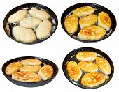 picture of patty-cake  - set of frying pan with few cooking patties isolated on white background - JPG