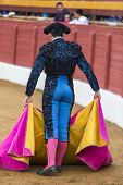 image of bullfighting  - Spanish Bullfighter with the cape in the Sabiote bullring Sabiote Jaen pronvince Spain - JPG