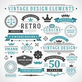 Vintage vector design elements. Retro style typographic, flourishes and calligraphic objects.Labels, ribbons, symbols, tags, badges, stamps, arrows and emblems set.  poster