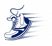foto of long distance  - Vector running icon with a blue lace up sneaker  trainer or running shoe with speed trails and motion lines in mid step or stride on white - JPG