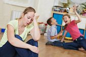 stock photo of upset  - exhausted mother frustrated and upset from children behaviour - JPG