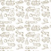 stock photo of baby doll  - monochrome seamless pattern with line drawing baby toys - JPG