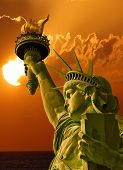 picture of statue liberty  - Statue of Liberty on Island in New York City  - JPG