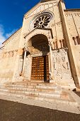 stock photo of masterpiece  - Detail of the facade of the Basilica of San Zeno (X-XI century) in Verona Italy. Is considered one of the masterpieces of Romanesque architecture in Italy ** Note: Soft Focus at 100%, best at smaller sizes - JPG