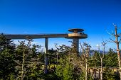 picture of smoky mountain  - Clingmans Dome lookout tower at the tallest point of the Great Smoky Mountains National Park and the highest elevation of the Appalachian Trail - JPG
