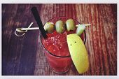 pic of bloody mary  - Delicious Bloody Mary cocktail with an Instagram effect filter and postcard border - JPG
