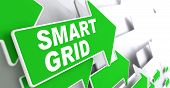 image of smart grid  - Smart Grid Green Arrows with Slogan on a Grey Background Indicate the Direction - JPG