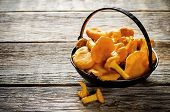 picture of chanterelle mushroom  - chanterelle mushrooms on a dark wood background - JPG