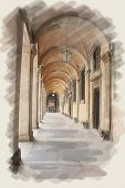 foto of arcade  - art watercolor background on paper texture with european antique town - JPG