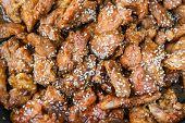 stock photo of korean  - The Korean fried pork with sesame - JPG