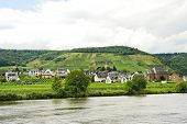 stock photo of moselle  - Ellenz Poltersdorf village on Moselle riverside Germany - JPG