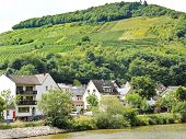 pic of moselle  - houses in Ellenz Poltersdorf village on Moselle river Germany - JPG