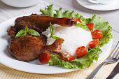 picture of roast duck  - roasted duck leg with rice and salad on the plate closeup horizontal - JPG