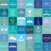 stock photo of merry christmas text  - Vector set of 36 retro elements for Christmas calligraphic designs - JPG