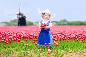 image of national costume  - Adorable curly toddler girl wearing Dutch traditional national costume dress and hat playing in a field of blooming tulips next to a windmill in Amsterdam region - JPG