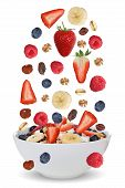 pic of fruit bowl  - Falling ingredients of fruit muesli for breakfast in bowl with fruits like raspberry blueberries banana and strawberry - JPG