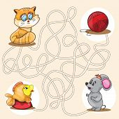 pic of maze  - Cartoon Vector Illustration of Education Maze or Labyrinth Game for Preschool Children - JPG