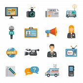picture of tv sets  - Journalist icon flat set with camera microphone tv van isolated vector illustration - JPG