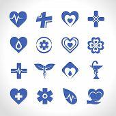 picture of ambulance  - Medical ambulance emergency symbols logo icons blue set isolated vector illustration - JPG