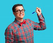 image of nerd glasses  - Nerd with pen and glasses on blue background - JPG