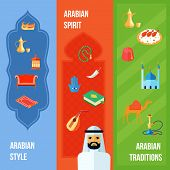 foto of hamsa  - Arabic culture flat vertical banner set with arabian style spirit and traditions elements isolated vector illustration - JPG