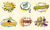 pic of bomb  - Comic speech bubbles in pop art style with bomb cartoon explosion splach powl snap boom poof text set vector illustration  modern style - JPG