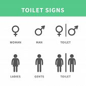 stock photo of female toilet  - Vector illustration Male and Female pictogram for toilet Symbol Icon - JPG
