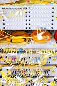 stock photo of telecommunications equipment  - Telecommunication equipment in a big datacenter - JPG