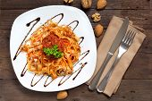 picture of boar  - Tagliatelle with wild boar ragu made in italian style - JPG