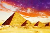 stock photo of the great pyramids  - Panorama of Great Pyramid located at Giza  - JPG