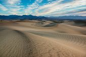 stock photo of mesquite  - Mesquite flat sand dunes at sunrise - JPG