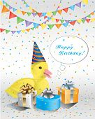 picture of duck  - Happy birthday background with confetti and duck - JPG